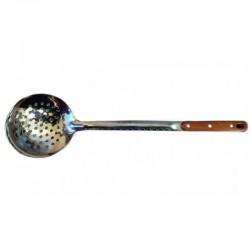 Стальная шумовка со стильной ручкой шоколадного цвета  45 см