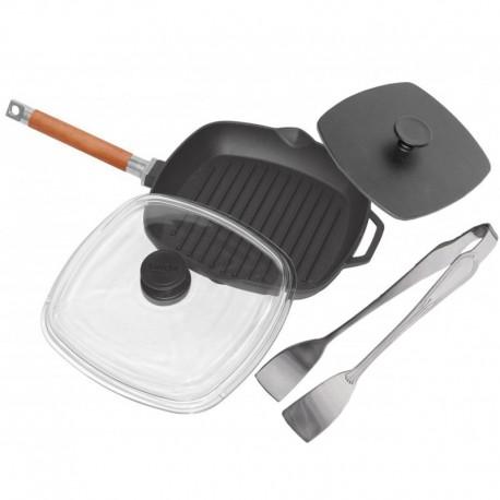 Сковорода-гриль чугунная БИОЛ (28 см) с прессом 22,5х22,5 см и со стеклянной крышкой
