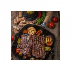 Сковорода-гриль чугунная БИОЛ (28 см) С ПРЕССОМ 22,5х22,5 см и съемной ручкой