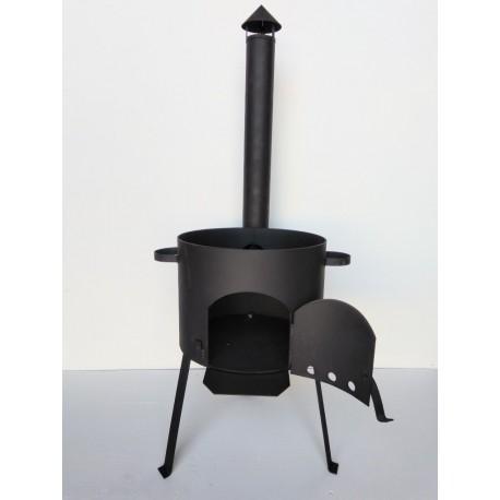 3 мм Печь под казан 22 литра с дверцей, дымоходом и заслонкой УСИЛЕННАЯ