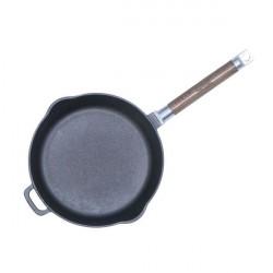 Сковорода чугунная 24 см БИОЛ со съемной ручкой и сливом
