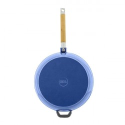 Сковорода чугунная эмаль (синий) 24 см БИОЛ со съемной ручкой