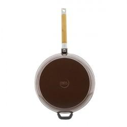 Сковорода чугунная эмаль (щоколад) 24 см БИОЛ со съемной ручкой