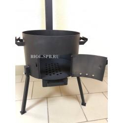 3 мм Печь под казан 8 л. с дверцей, дымоходом и заслонкой УСИЛЕННАЯ