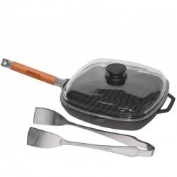 Сковорода-гриль чугунная БИОЛ (26 см) со стеклянной крышкой и съемной ручкой 1026С
