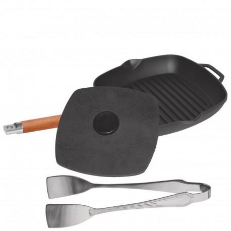 Сковорода-гриль чугунная с крышкой-прессом (260 мм)