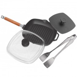 Сковорода-гриль чугунная БИОЛ (26 см) с прессом 21х21 см и со стеклянной крышкой 1026ПС