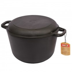Кастрюля чугунная литая с крышкой-сковородой (6 л)