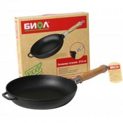 Сковорода чугунная литая 26 см со съемной ручкой БИОЛ 0126